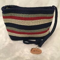Stone Mountain® Womens Shoulder Bag Purse Blue White Red Striped Woven Fabric