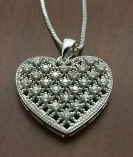 "925 sterling silver  Heart micropave cz pendant 18"" box chain necklace."