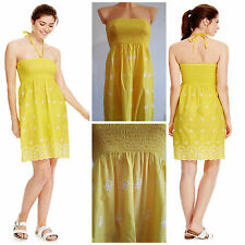 Ex M&S YELLOW WHITE FLORAL Embroidered Strapless COTTON Summer Dress UK 6 - 22