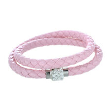 Bangle Bracelet Crystal Braided Leather Clasp Magnetic Jewelry Pink Pk3m T1