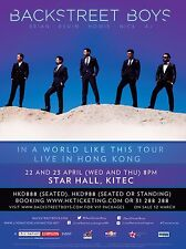 """BACKSTREET BOYS """"IN A WORLD LIKE THIS TOUR LIVE IN HONG KONG""""2015 CONCERT POSTER"""