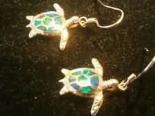 Beautiful sea turtle AMMOLITE EARRINGS in .925 STERLING silver, high quality!!