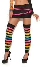 Neon Striped Thigh High Hi Leg Warmers Footless Stockings Hosiery Rave 1897