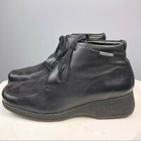 Mephisto Leather Suede Ankle Lace Up Boots Black Size 7.5