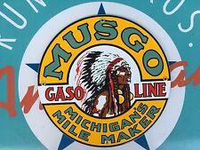 """MUSGO gasoline """"MICHIGAN'S MILE MAKER"""" porcelain coated 18 GAUGE steel SIGN"""
