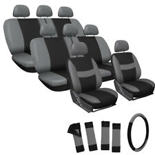 25pc Full Set Gray Seat Covers Steering Wheel Belt Pads Head Rests Universal Fit