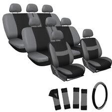 25pc Set Gray Black VAN Seat Cover FREE Steering Wheel Belt Pads Head Rests