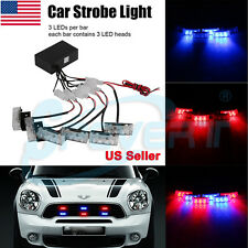 6x 3 LED Car Auto Truck Boat Dash Strobe Emergency Police Warning Light Red/Blue