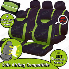 Carnaby Green Black Mesh Car Side Airbag OK Seat Covers Set + 2 Shoulder Pads