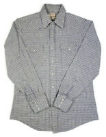 Woolrich Mens L Pearl Snap Button Front L/S Flannel Shirt Houndstooth Striped