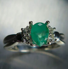 Emerald Engagement Solitaire Natural Fine Rings