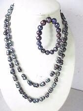 Muy larga collar de perlas & pulsera Tahití perlas 1,6cm anudados 100% natural 135cm