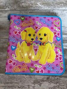 Lisa Frank Puppy Love - Zip binder Pink Puppies vintage rare 90s