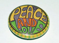 PEACE AND LOVE 25MM / 1 INCH BUTTON BADGE RETRO HIPPY 60s SIXTIES