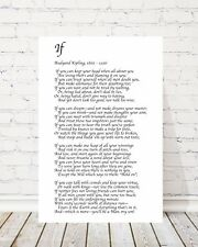 IF POEM by RUDYARD KIPLING WHITE CANVAS PICTURE FRAME WALL ART WORD ART CANVAS