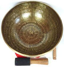 """11"""" Healing Mantra Carved Meditation Tibetan Singing Bowl, Hand Hammered Bowls"""