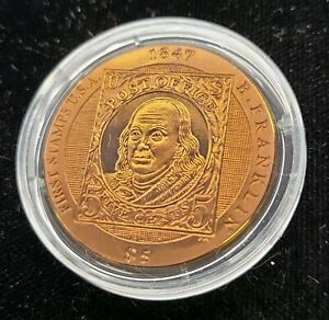2007 British Virgin Islands 5 Dollars Proof Titanium Ben Franklin Stamp Coin PR