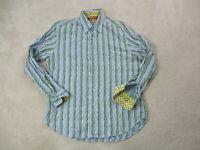 Robert Graham Button Up Shirt Adult Medium Green Purple Flip Cuff Casual Men A1