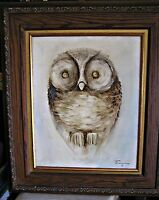 "Large Original Ozz Franca ""Owl"" Oil Painting on Canvas, Framed Under Glass"