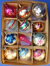 12 Vintage Retro Large Mercury Glass Christmas Tree Baubles