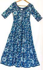 Anokhi Maxi Dress Vintage Boho Chic Hand Print Indian Cotton Natural Indigo Dye
