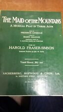 Fraser-Simson: The Maid Of The Mountains: Music Score