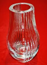 RARE VINTAGE  FRENCH ST LOUIS CRISTAL CLEAR CRYSTAL VASE RIBBED - MINT