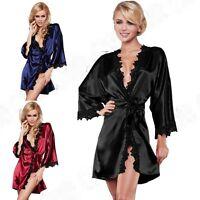 New Women Sexy Satin Lace Robe Sleepwear Lingerie Nightdress G-string Pajamas
