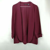 H by Halston Knit Crepe 3/4-Sleeve Open Front Jacket Bordeaux 12 A311549