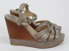 FRYE Corrina Stitch Size 10 M Taupe Gray Leather Wedge Sandals Strappy $198