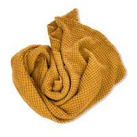 "100/% Merino Wool Ochre Cuddly Reversible-BLANKET /""Ginkgo/"" 130x170 cm"