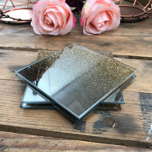 S/4 Vintage Gold Glitter Mirrored Glass Drinks Coffee Cup Table Mats Coasters
