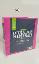 """Lot of 6 Casemate D-Ring 1-1/2"""" Binder Notebook 3 Ring Holds 375 Sheets Pink"""