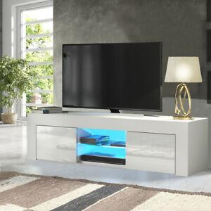 LED TV Schrank TV Lowboard Fernsehtisch Unterschrank Weiß Hochglanz Wohnzimmer