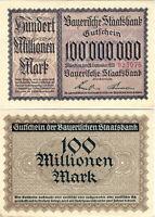 Banknote Gutschein 100 Millionen Mark 1923 München Bayerische Staatsbank SELTEN