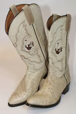 Rancho Mens Size US 11 MX 30 EE Ostrich Leather Pull On Cowboy Boots 1133