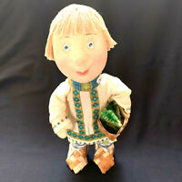 """Russian Hand Made Stockinette Cloth Boy Doll Woven Shoes And Basketcloth 10"""""""