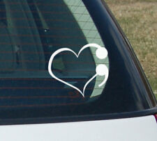 Semicolon Semi colon Love Heart Depression Awareness Suicide Survivor Car decal