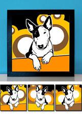Bulli 3 - Bullterrier Mini mit Monokel Hund Retro Bilder Fotos Tierbilder Poster