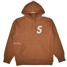 NWT Supreme NY Men's Brown White S-Logo Hoodie Sweatshirt FW18 M L DS AUTHENTIC