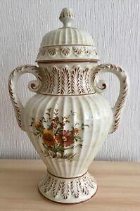 Large Vintage Ceramic Floral Ginger Jar Lidded Vase Ideal For Flowers Display