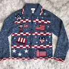 Womens Sm VTG AMERICAN FLAG UGLY SWEATER CARDIGAN blue red white USA Christmas