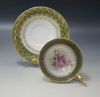 AYNSLEY TEACUP AND SAUCER SET #2539 GREEN ROSE GOLD CHINTZ BONE CHINA