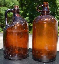 Vintage Amber Embossed Glass Clorox Bottles One w/Cap Jug Four Fingered Handle