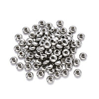 100PCS 304 Stainless Steel Metal Beads Bicone Smooth Tiny Loose Spacers 6x3mm