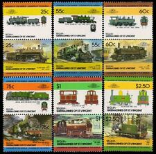 BEQUIA, Grenadines of St. Vincent-Railway Locomotives-12 Different Mint Stamps