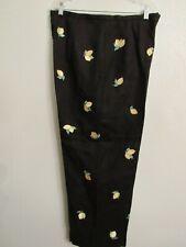 $98 Women's Talbot's Irish Linen Capri's Black Lemon 🍋 Embroidery Sz 16 NWOT