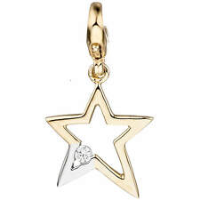 Einhänger Charm Anhänger Stern mit weißem Zirkonia, 375 Gold Gelbgold rhodiniert