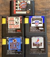 Lot of 5 Sega Genesis Sports Games Tested Working NBA Jam Madden NHL