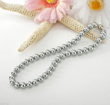 "Charm charming 8mm Silver Gray South Sea Shell Pearl Necklace 18"" AAA"